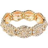 Ever Faith® Femme Cristal Autrichienne Stunning Fleur Knot Elastic stretch bracelet