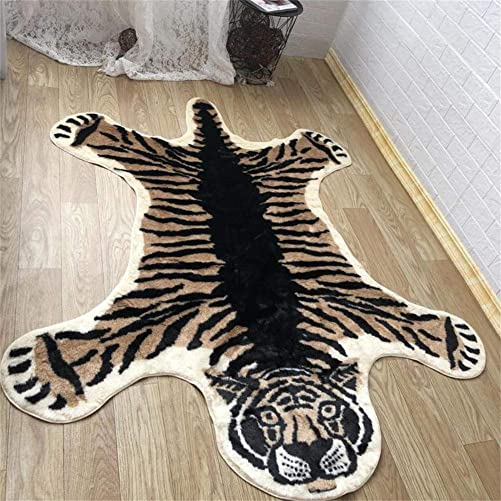 Tiger Print Rug,Faux Fur Rug Area Artificial Carpet, Cow Hide Mat Rug Animal Print Hide Large Carpet for Decorating Any Room 5 x 6 Feet