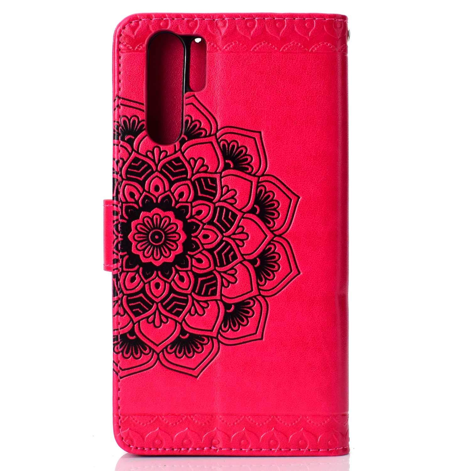 Blue Leather Case Magnetic Stand Bumper Case with Card Holders and Hand Wrist CUSKING Wallet Case for HUAWEI P30 Pro