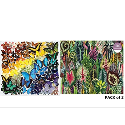 HDGTSA Jigsaw Puzzles Pack of 2 - Each 1000PCs, Joopee Puzzle for Adults Kids - Educational Intellectual Decompressing Fun Family Game (Butterfly Flower): Toys & Games