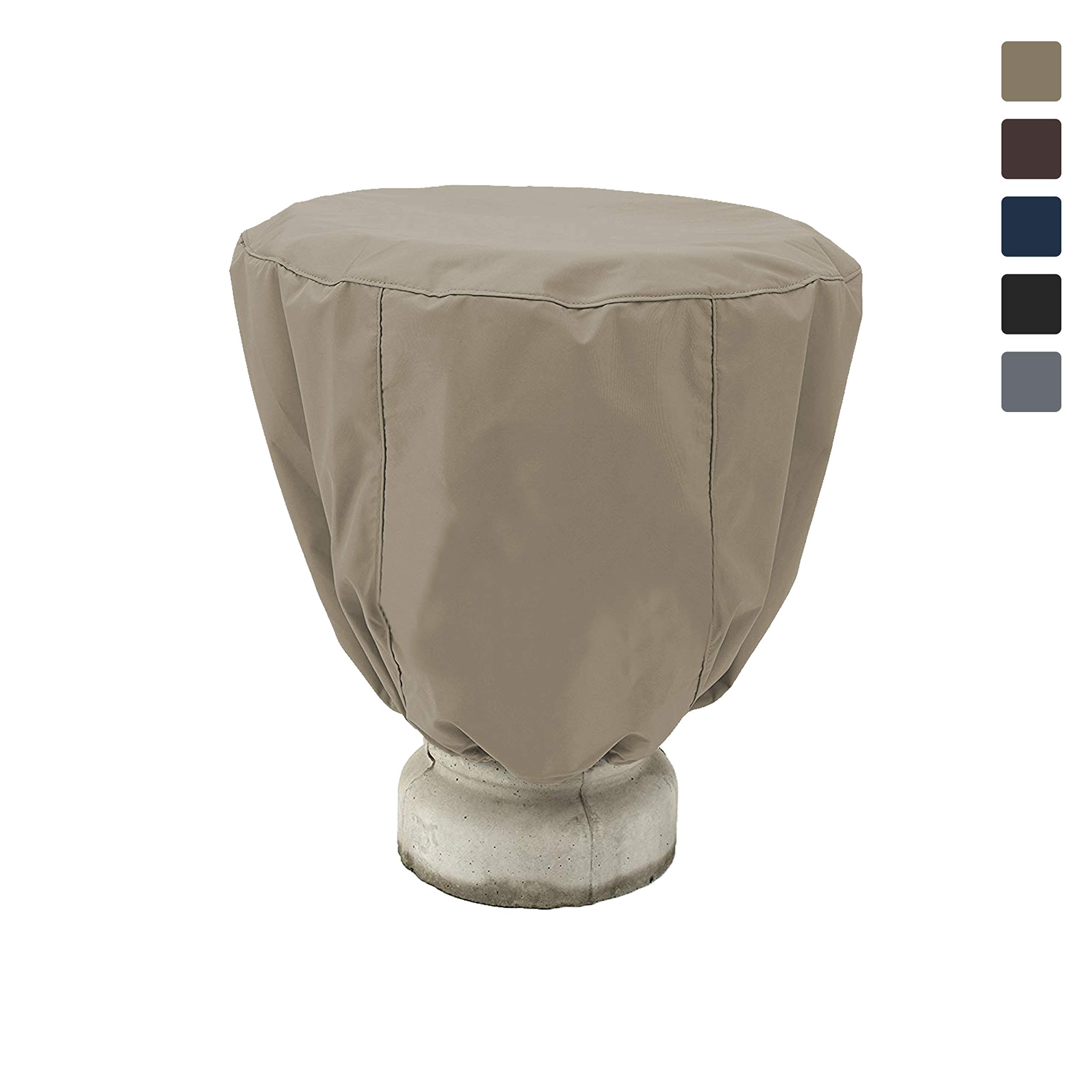 COVERS & ALL Bird Bath Cover 12 Oz Waterproof - Customize Cover with Any Size - 100% UV Weather Resistant Outdoor Cover with Elastic for Snug Fit (32'' Dia x 24'' H, Beige)