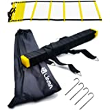 Limm Agility Ladder with BONUS Carry Bag, Hooks & Online Videos – Extra Wide Rungs, Flat Rung, Durable, Multi-Sport Training Tool – For High Intensity Footwork, Speed and Agility Training (12 Rung)