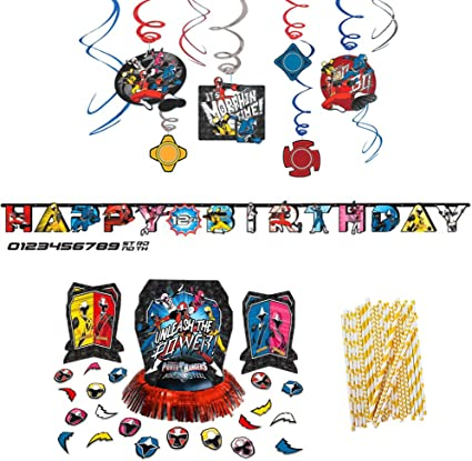 Power Rangers Ninja Steel Birthday Decorations Party Supplies Pack | Paper Straws, Hanging Swirls, Table Decorating Kit With Centerpieces, Confetti, ...