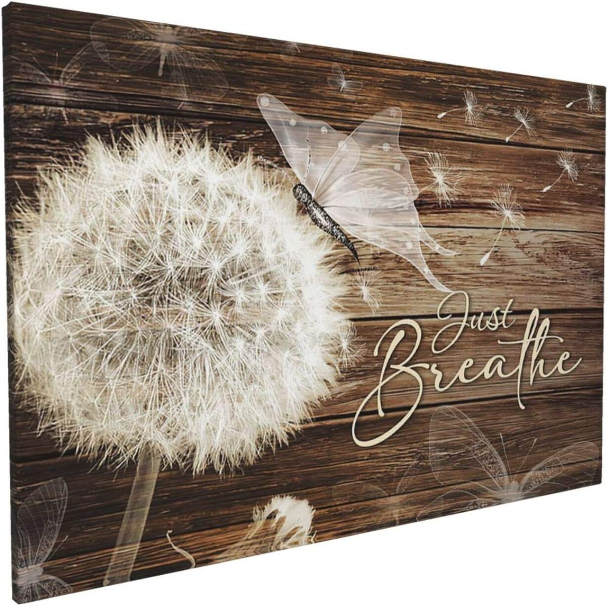 Unkow Just Breathe Wall Art Dandelion Wood Background Canvas White Flower Floral Painting Vintage Picture Giclee Matte Prints Home Decor for Bedroom Living Room Bathroom Ready to Hang 16x24 Inch
