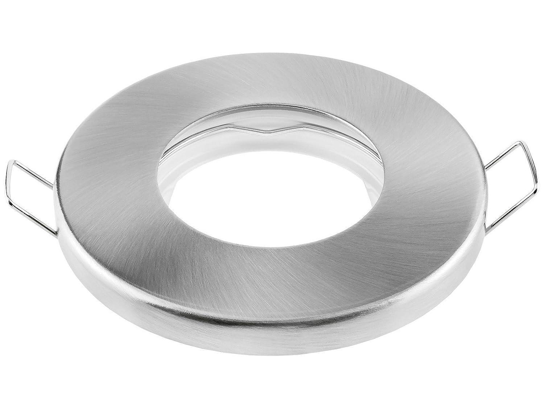 GU10 Fassung Einbaurahmen f/ür Bad Dusche in geb/ürstet rund inkl 10x linovum/® Feuchtraum Einbaustrahler Rahmen flach IP65