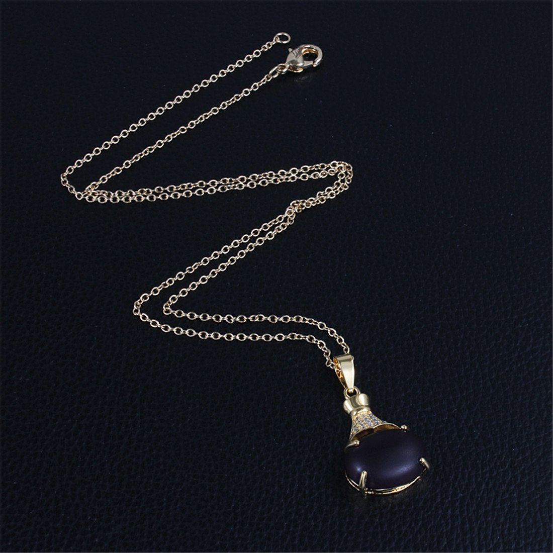 Simulated Purple Opal Charm Necklace Available in Yellow or White Gold Plated