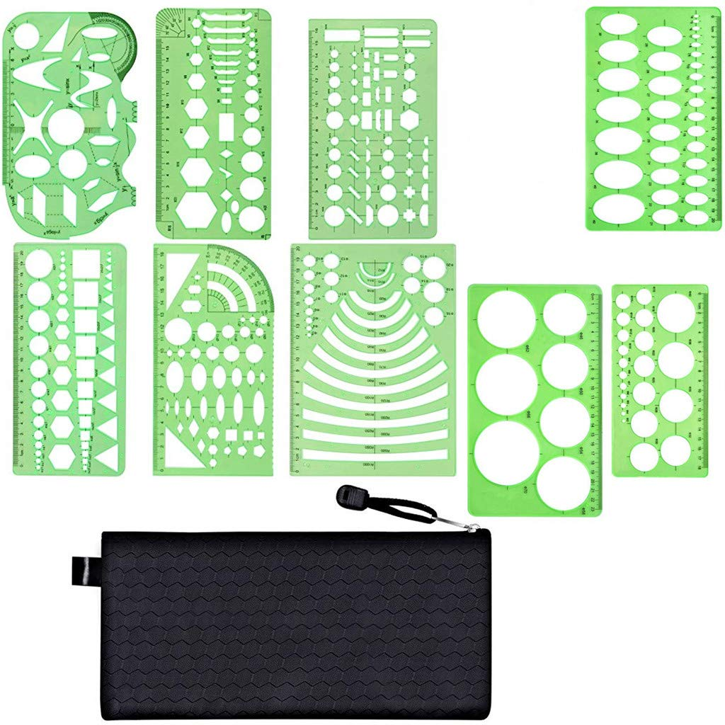 Kasmena 9 Pcs Plastic Geometric Drawings Stencils Measuring Templates Geometric Rulers for Office and School,Planner Painting Drawing,Clear Green Color