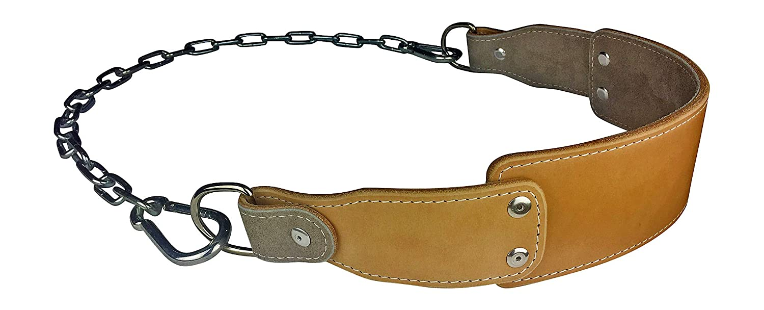 Leather Dip Belt with Chain – For Weighted Pullups and Dips – Professional Grade – Fits Any Waist Size