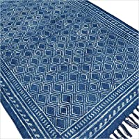 Eyes of India - 3 X 5 ft Blue Indigo Cotton Block Print Area Accent Dhurrie Rug Flat Weave Woven Boho Chic Indian Bohemian