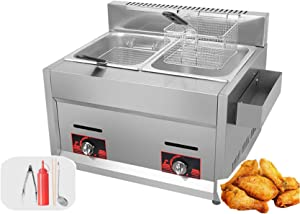 XIAZI Commercial Deep Fryer 20L Natural Gas Fryer Twin Basket Electric Dual Tank Countertop Stainless Steel French Fry for Restaurants,Suitable for Indoor, Outdoor, Garden, Picnic, Travel,DZL001