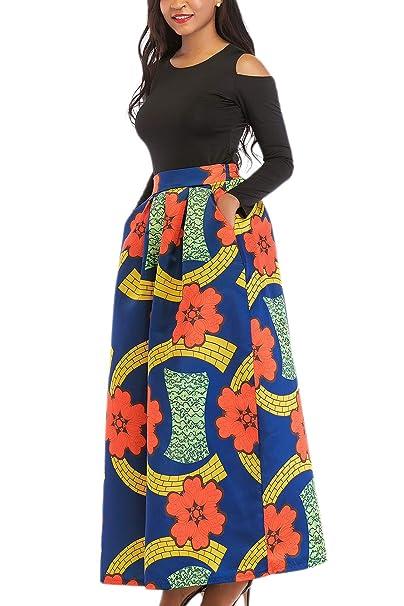 Yacun La Mujer Africana De Una Linea De Falda Maxi Vestido Floral De Dos Piezas 3redflower
