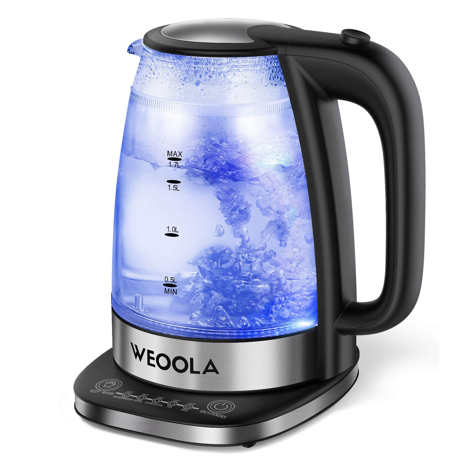 Electric Kettle Temperature Control, Cordless Tea & Coffee Pot with 5 Preset Temp Functions, Double Wall with LED Indicator, Quick Boil, Auto Shut Off and Boil Dry Protection (BPA Free, 1.7L/1500W)