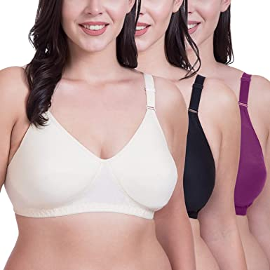 43ad2dd3279d7 Rajnie Plus Size Seamless Beige Black Magenta Cotton Bra - (Pack of 3)   Amazon.in  Clothing   Accessories