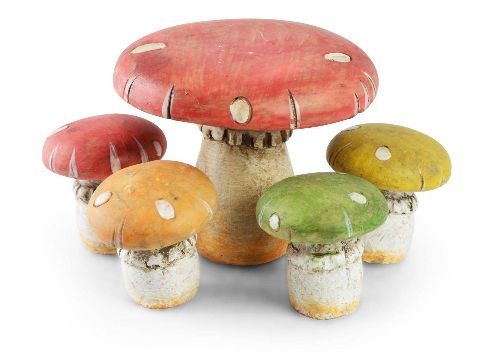 Sugar House Miniature Fairy Garden Accessories – Garden Décor Accessories Home for Fairies (Mushroom Table w/Stools (Set of 5))