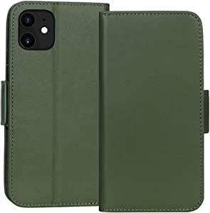 FYY Case for iPhone 11, Luxury [Cowhide Genuine Leather][RFID Blocking] Handcrafted Wallet Case, Handmade Flip Folio Case Cover with [Kickstand Function] and[Card Slots] for Apple iPhone 11 Green