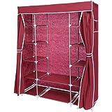 Befied Armoire de rangement Portable Penderie Armoire pour Vêtements Penderie dressing en tissu intissé 170 x 133 x 44cm (Rouge)