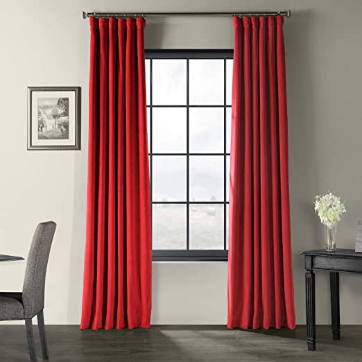 Pottery Barn Red /& Cream Striped Curtain Panel with Rings 44 x 84 Cotton Drape