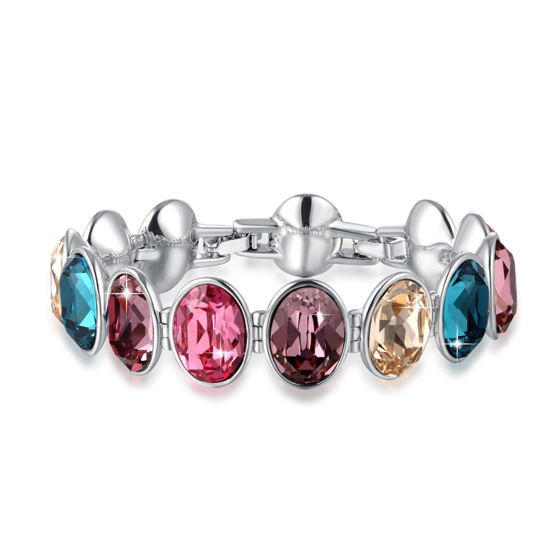 Swarovski Bracelet Luxury Colorful Gem Stone Style Tennis Bracelet with Swarovski Crystals, Adjustable Size, Gifts for Women by SUE'S SECRET
