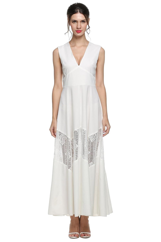 ANGVNS Evening Dress Women V-neck Lace Patchwork Sleeveless Chiffon Maxi Dress