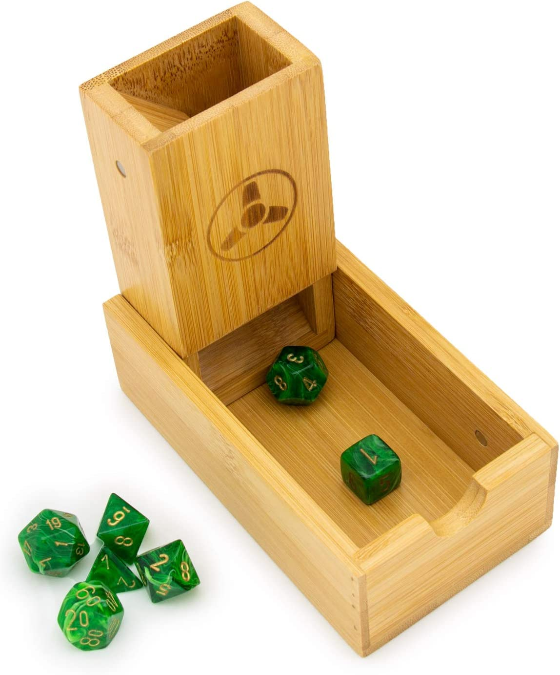 Premium Dice Rolling Tower and Tray for RPGs and Board Games Hominize Bamboo Dice Tower