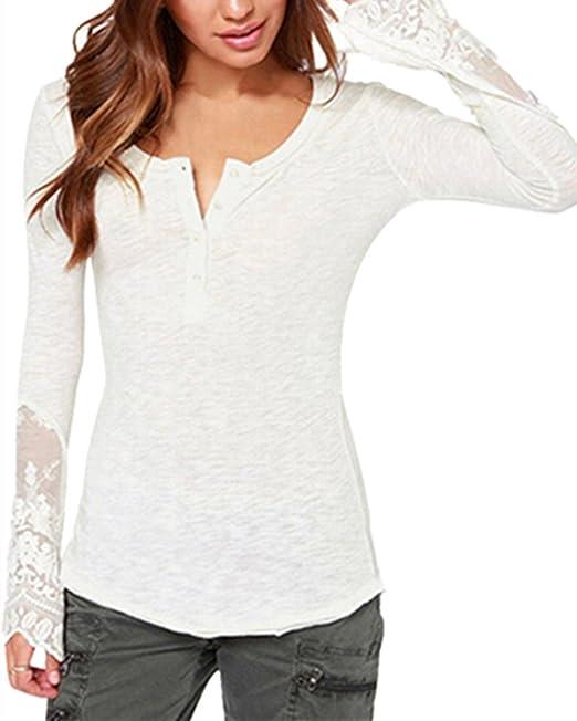 Camisetas Mujer De Manga Larga Slim Fit Splice Encaje Tops Transparentes Botones Elegante T-Shirt