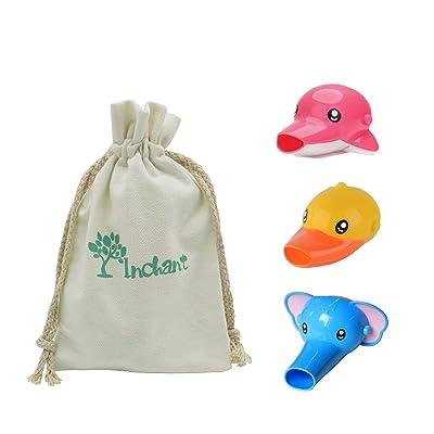 3 Paquet Robinet bébé Extenders - forme animale Cartoon évier poignée Robinet Extender pour les enfants en bas âge aide Se laver les mains - avec du coton Sac à cordonnet cadeau - rend