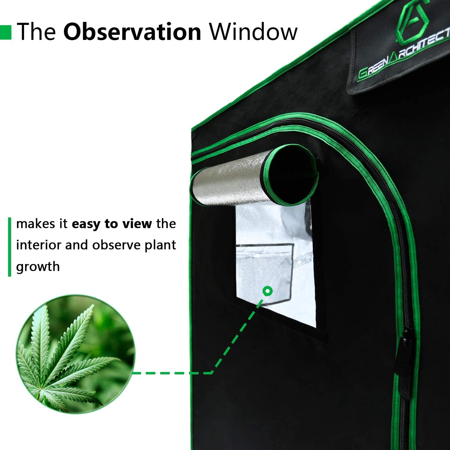 for 1-2 Plants GA Grow Tent 24x24x48 Reflective Mylar Hydroponic Grow Tent with Observation Window and Waterproof Floor Tray for Indoor Plant Growing.2x2