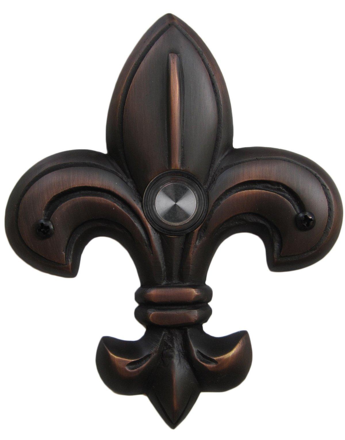 Waterwood Brass Medium Fleur De Lis Doorbell in Oil Rubbed Bronze