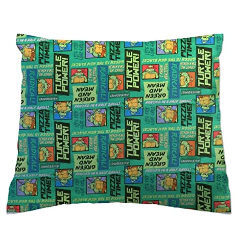SheetWorld Crib Toddler Pillow Case, 100% Cotton Woven, Ninja Turtles Pizza Time, 13 x 17,...