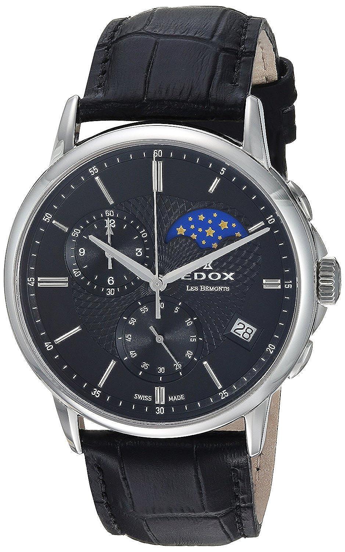 [エドックス]Edox 腕時計 'Les Bemonts' Swiss Quartz Stainless Steel and Leather Dress Watch, 01651 3 NIN メンズ [並行輸入品] B077MRNHWC