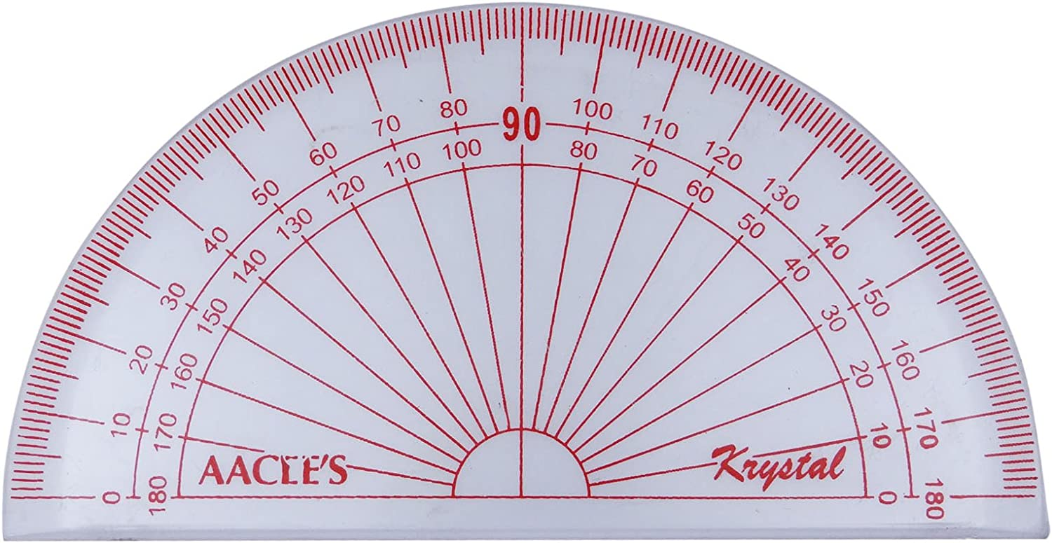 AACEES 180 Degree Protractor Clear Plastic Math Set Mathematical Protractor Angle Measure Device 10.2 x 5.5 cm