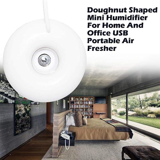 Color:White Kaemma Flotadores en el Mini humidificador en Forma de rosquilla de Agua para el hogar y la Oficina USB port/átil ABS difusor de Aire m/ás Fresco