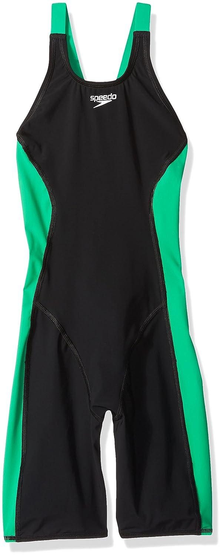 Black Green Speedo Women's Youth Powerplus Kneeskin Swimsuit