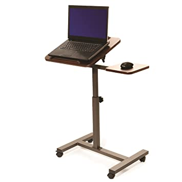 Seville Classics Mobile and Laptop Desk Cart with Side Table (Brown)