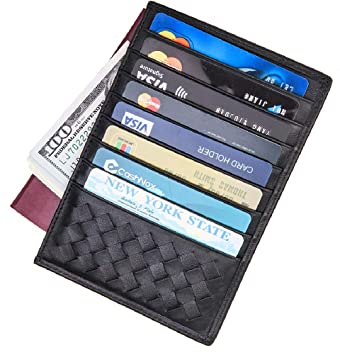 Tarjeta de Crédito Slim, RFID Bloqueo Monedero de Cuero, Mini Billetera para Tarjetas de Crédito