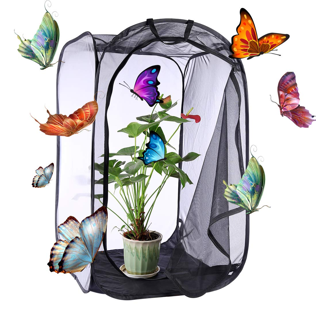 Yamix Insect and Butterfly Habitat Cage Terrarium Butterfly House Collapsible Pop-up 35.4'' Tall (Black)