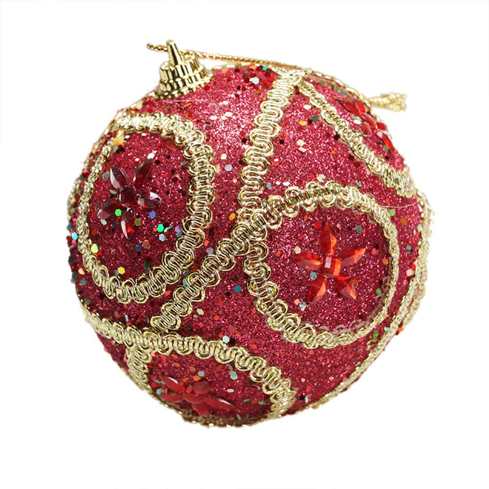 Christmas Ball Ornaments Christmas Rhinestone Glitter Baubles Balls Xmas Tree Ornament Decoration (8cm in Diameter) (Red)