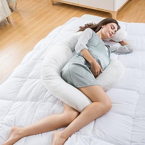 LANGRIA Nueva Almohada para el Embarazo Extra Grande Cojín de Lactancia, Diseño Ergonómico y Contorneado de Forma como Luna para Soportar el Cuerpo, ...