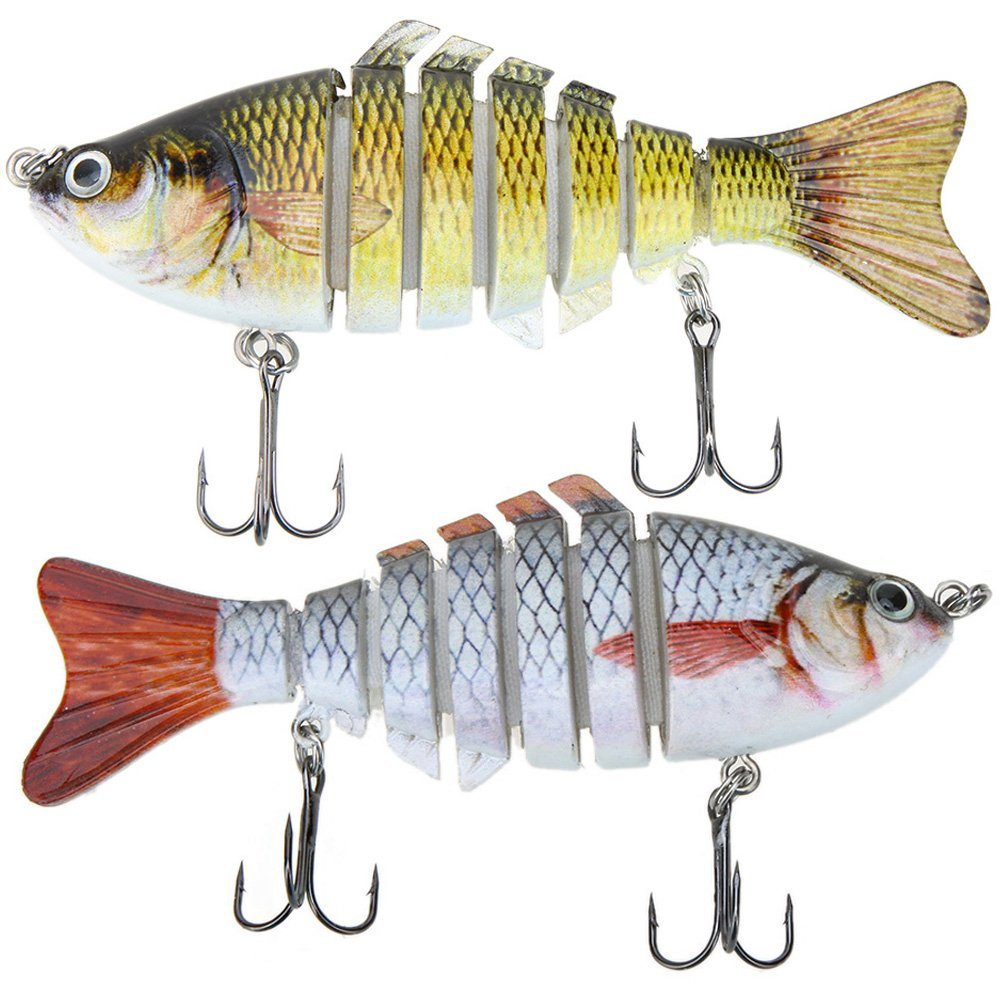 Lixada Fishing Bass Lure Multi Jointed Artificial Bait Segment Lifelike Trout Swimbait Hard Crankbait Treble Hooks (Style 1-3) by Lixada