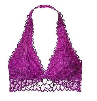 f9fdf9c2a5a64 VS Pink Victoria s Secret Pink Unlined Floral Lace Halter Bralette Bra  Large (A-C) Dark