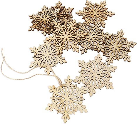 Amazon Com Rosenice Wooden Snowflake Christmas Decoration Hanging Ornament Pendants Pack Of 10 Home Kitchen