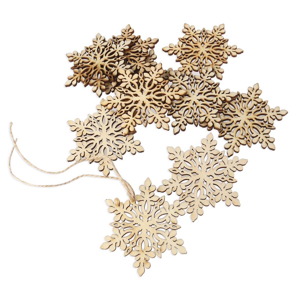 OULII 10pcs Sharp esagonale in legno fiocco di neve, decorazioni albero di Natale, ornamento, d'attaccatura di Natale decorazione ciondoli (colore di legno)