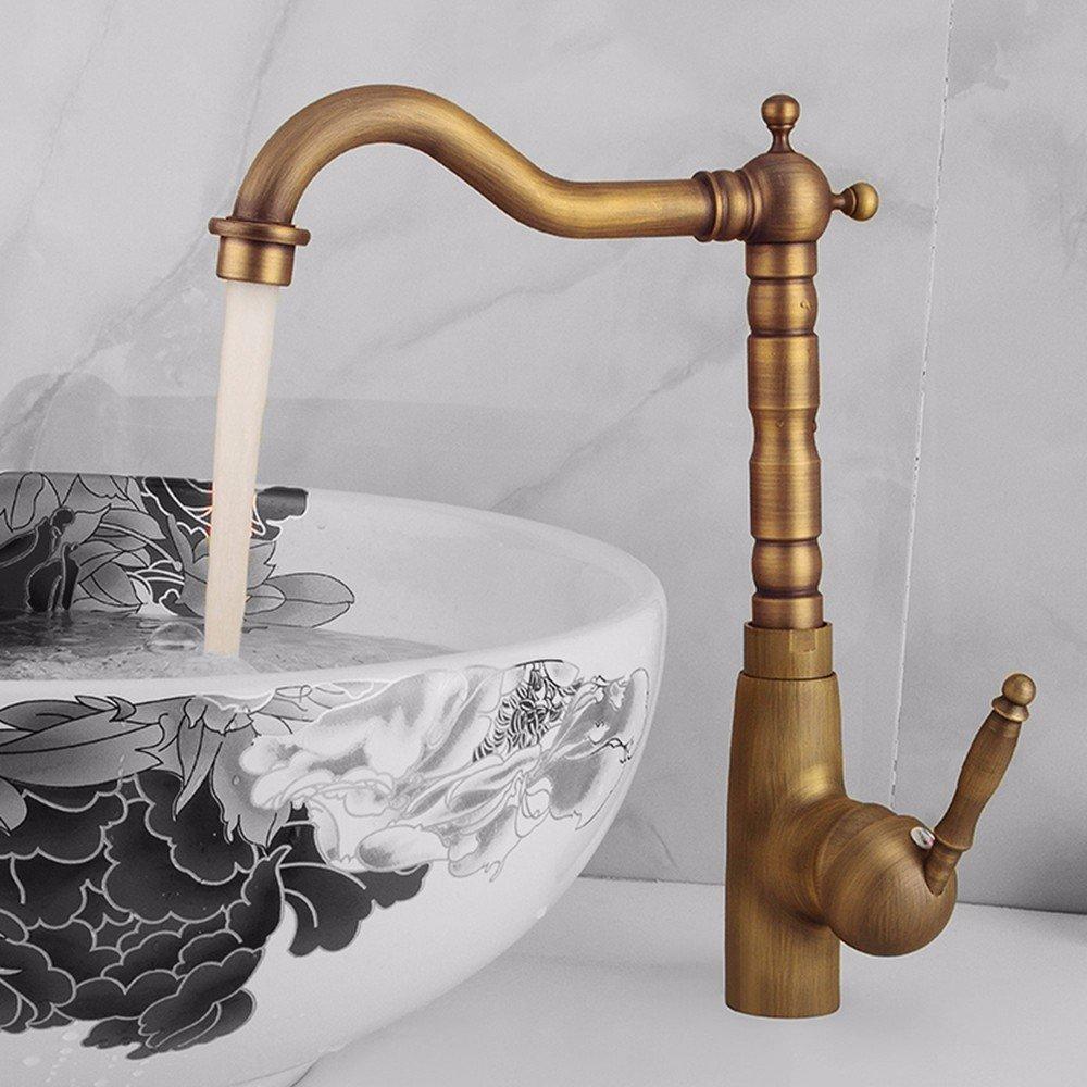 Suministros de limpieza y saneamiento AWXJX Estilo Europeo Estilo Retro Cobre Caliente y fría Solo Agujero lavarse la Cara grifos de Agua