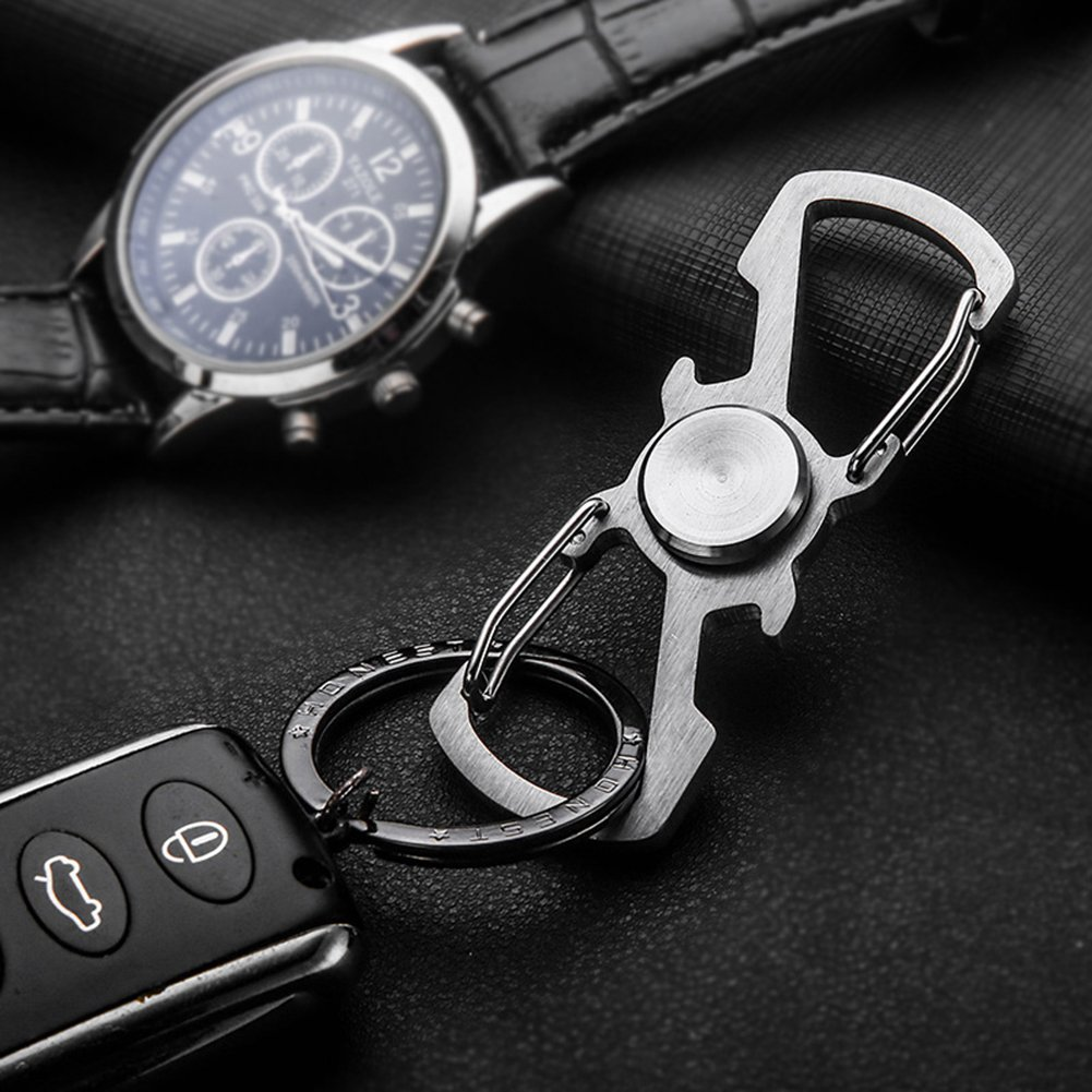 Silver Stainless Steel Key Chain Carabiner With Bottle Opener for Outdoor Traveling Keychain