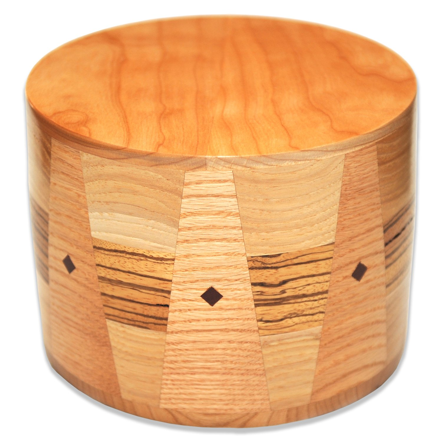 Handmade Round Wooden Cremation Urn in Maple Zebrawood and Oak Wood with Inlays