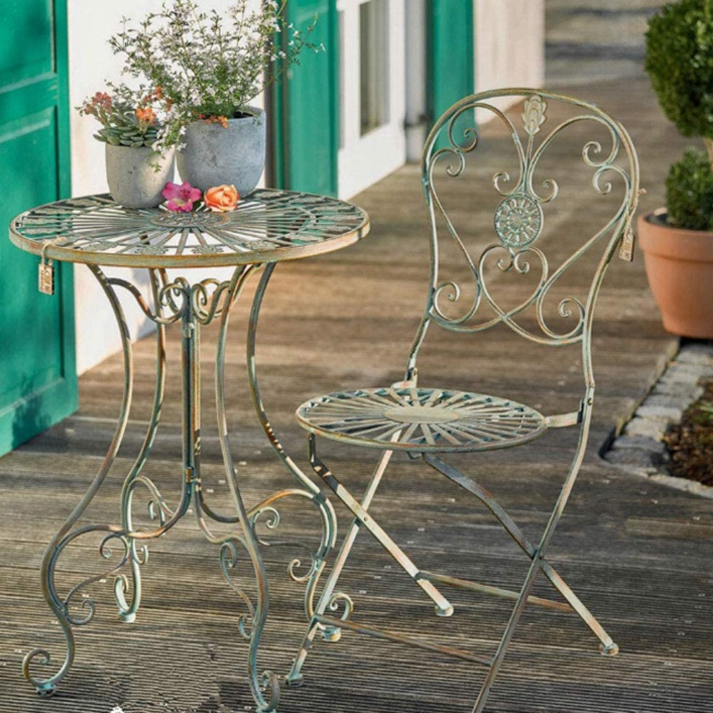 Sungmor Vintage Rustic Shabby Style Wrought Iron Garden Chairs  8