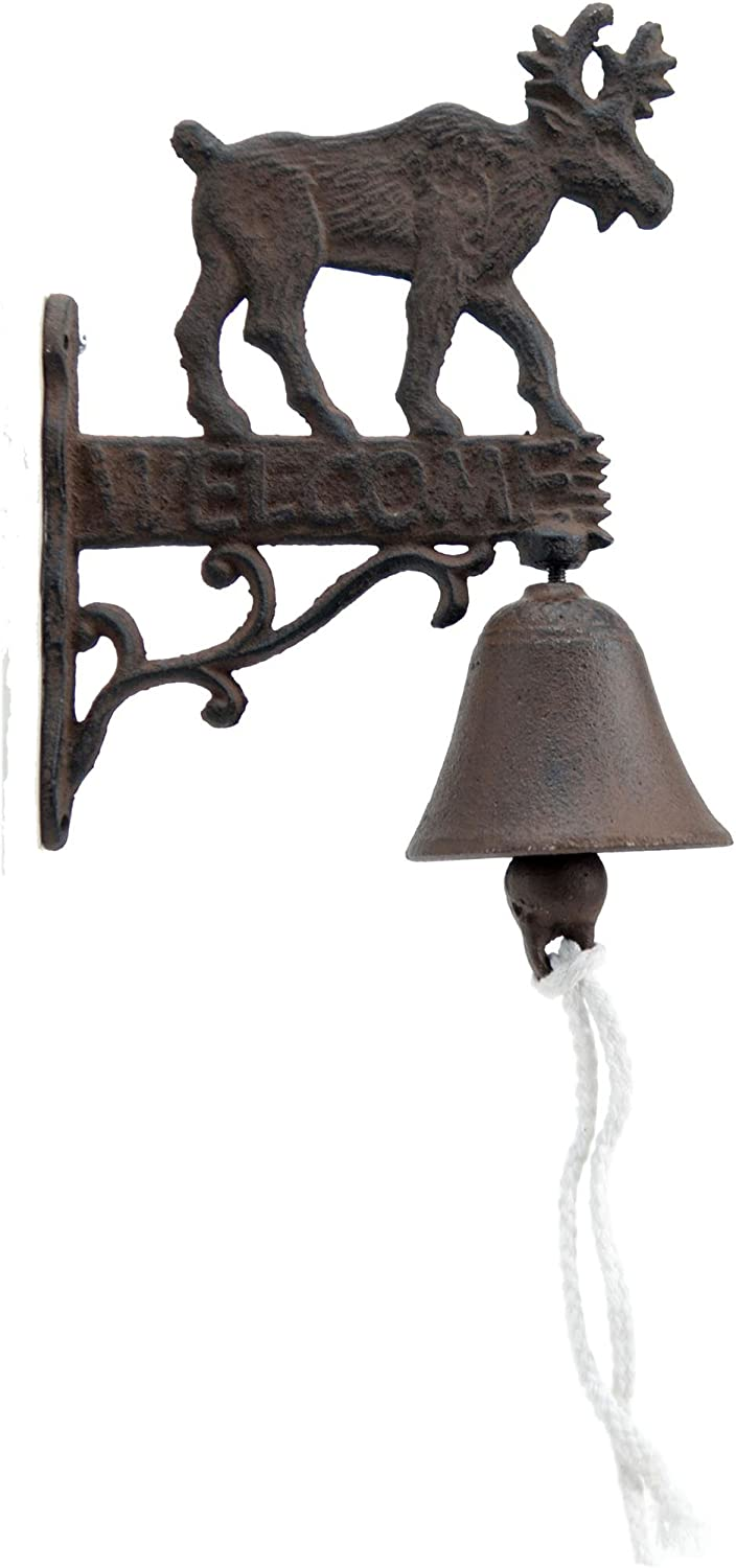 Import Wholesales Cast Iron Dinner Bell Moose Welcome Doorbell Distressed Brown