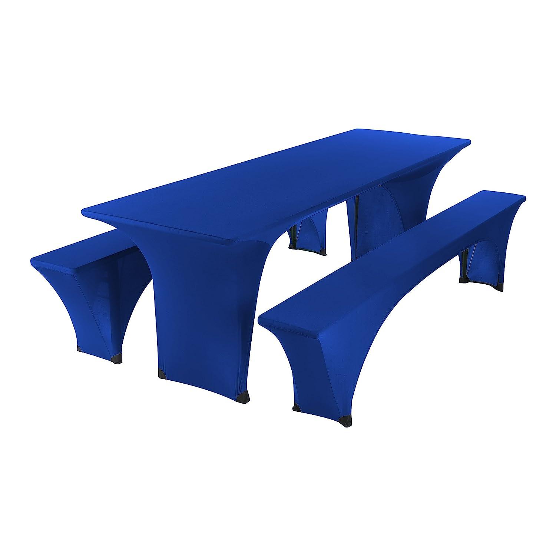 SCHEFFLER-HOME Bierzelt-Garnitur 3tlg. Set für Tisch und Bänke Stretch-Hussen 70x220 cm, Stretch-Bezug bi-Elastische Husse, Moderne Abdeckung - Bordeaux Deutsche Herstellung