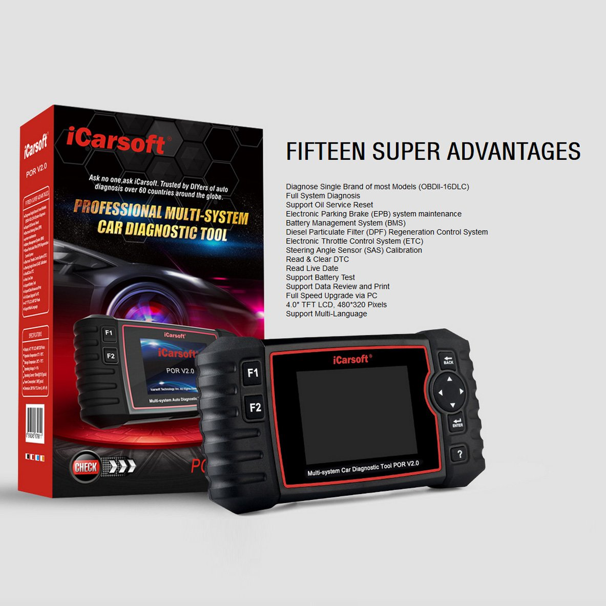iCarsoft Auto Diagnostic Scanner POR V2.0 for Porsche with ABS Scan,Oil Service Reset ect by iCarsoft (Image #3)