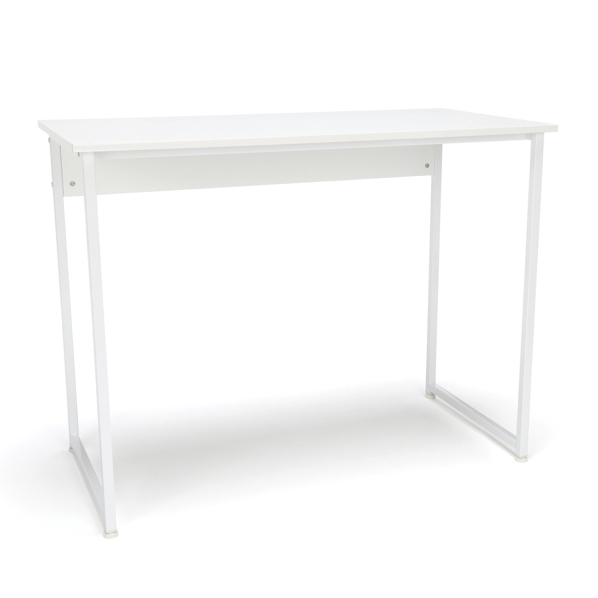 Essentials Office Desk with Metal Legs - Modern Computer Desk and Workstation, White (ESS-1040-WHT-WHT)